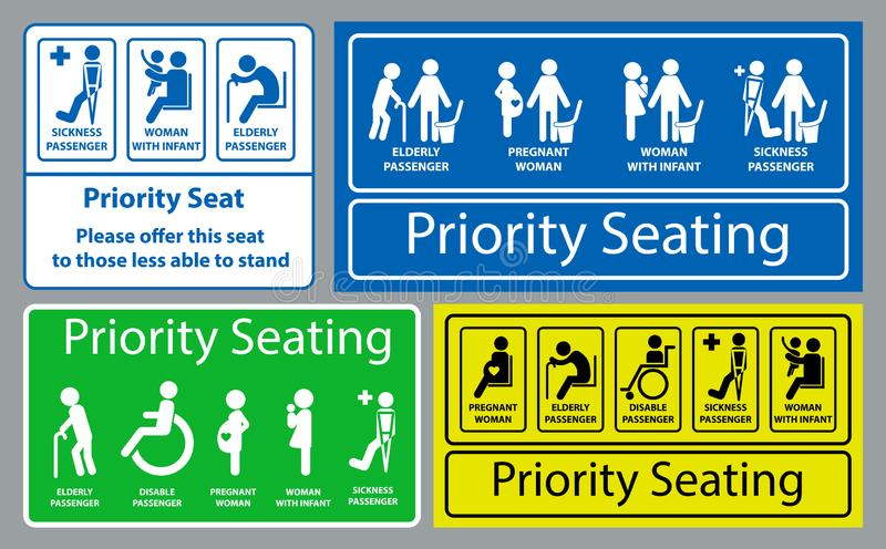 Klistermärke för prioritetsplats genom att använda offentligt trans., som bussen, samlas drevet, snabb transport och annan vektor illustrationer