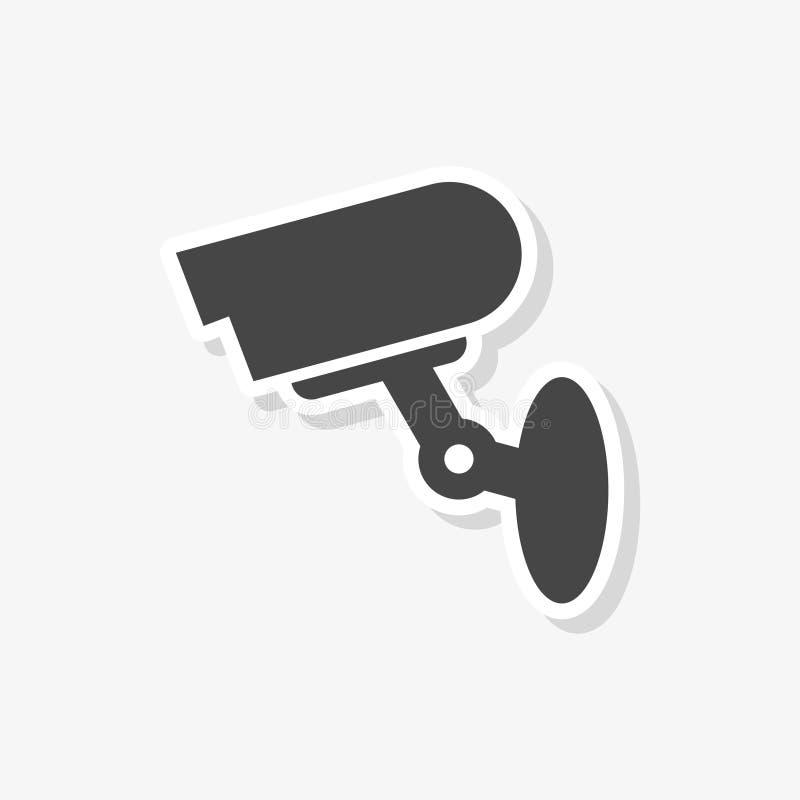 Klistermärke för säkerhetskamera, enkel vektorsymbol stock illustrationer