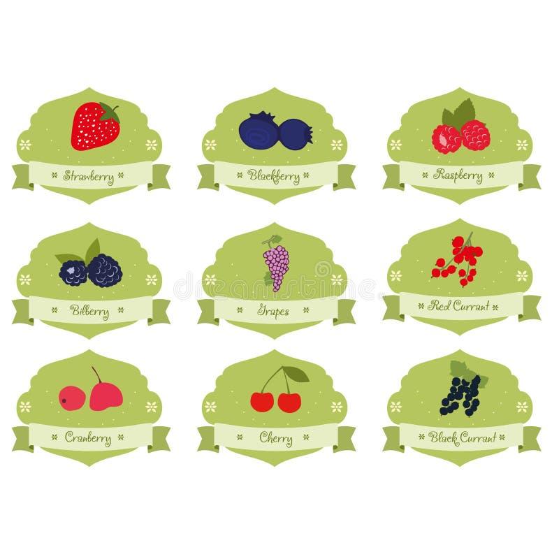 Klistermärke för tappningsamlingsbär royaltyfri illustrationer