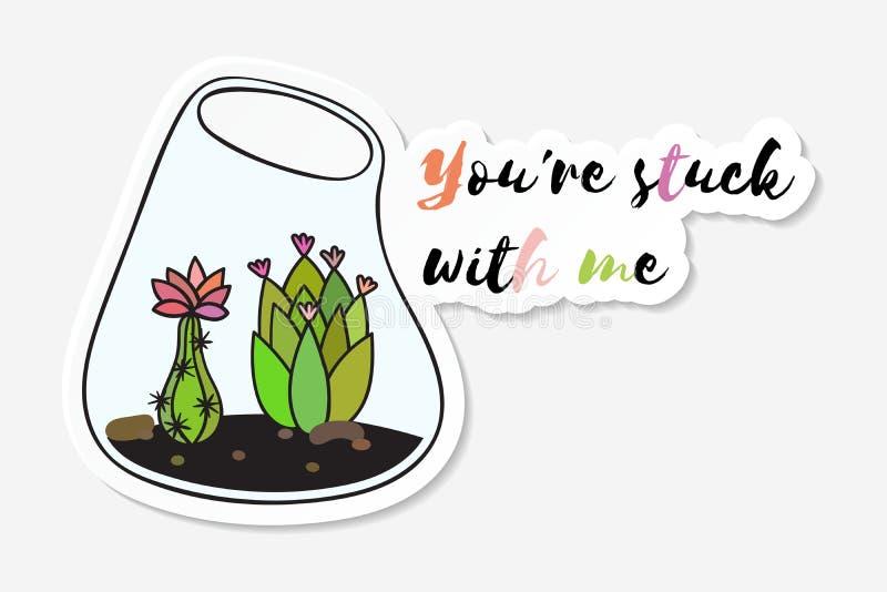 Klistermärke med den kulöra roliga gulliga kaktuns vektor illustrationer