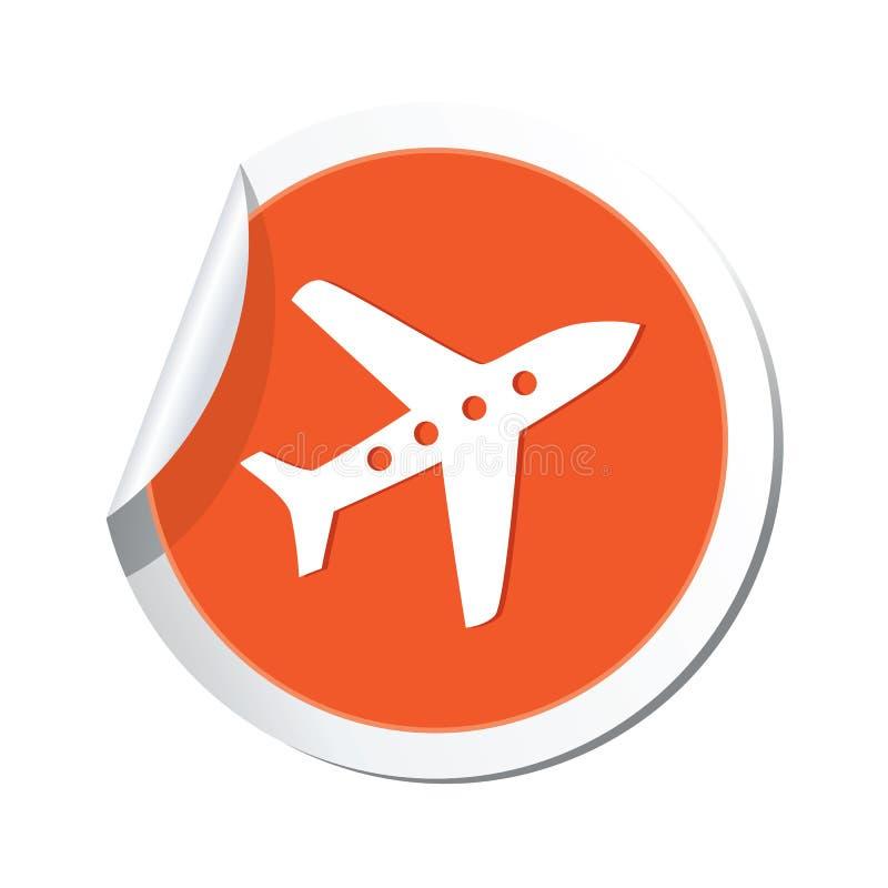 Klistermärke med flygplansymbolen royaltyfri illustrationer