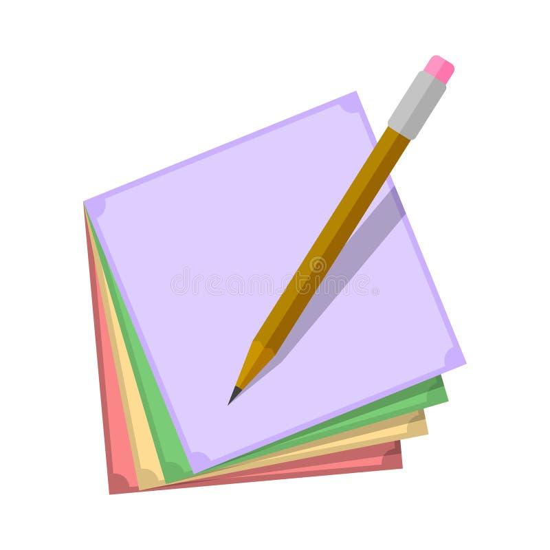 Klistermärkear för anmärkningar av olika färger med en blyertspenna över dem white f?r vektor f?r bakgrundsillustrationhaj stock illustrationer