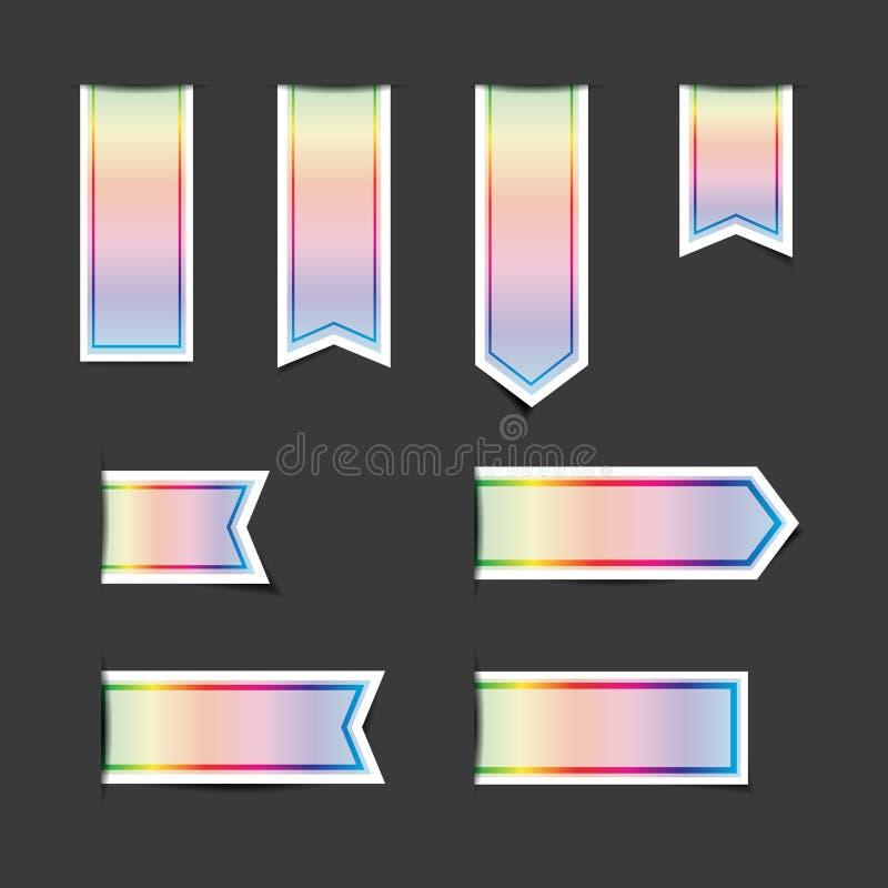 Klistermärkear för baner för spektrumfärgband med skuggor vektor illustrationer