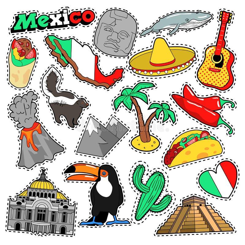 Klistermärkear för den Mexico loppurklippsboken, lappar, förser med märke vektor illustrationer