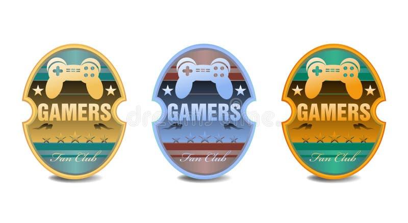 Klistermärkear för Gamersfanklubba royaltyfri illustrationer