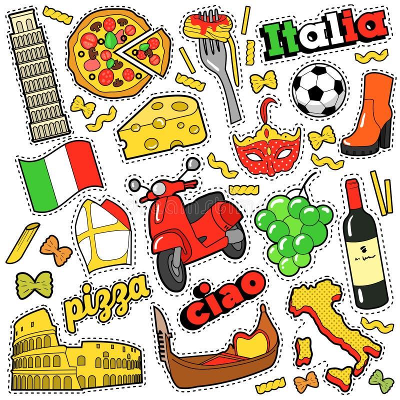 Klistermärkear för Italien loppurklippsbok, lappar, emblem för tryck med pizza, Venetian maskerings-, arkitektur- och italienareb stock illustrationer
