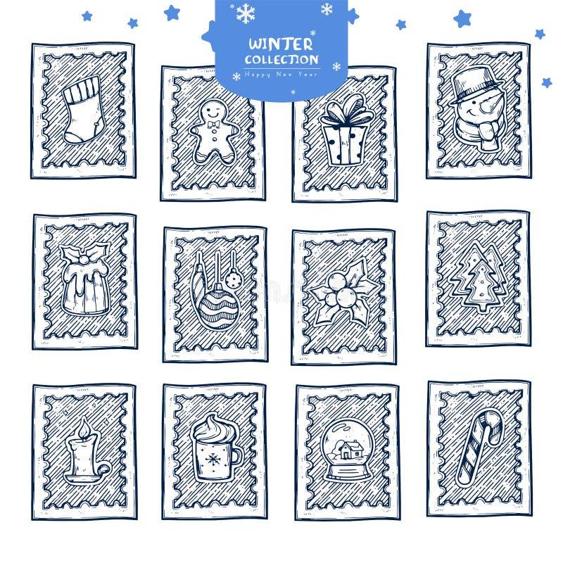 Klistermärkear för julportostämpel royaltyfri illustrationer