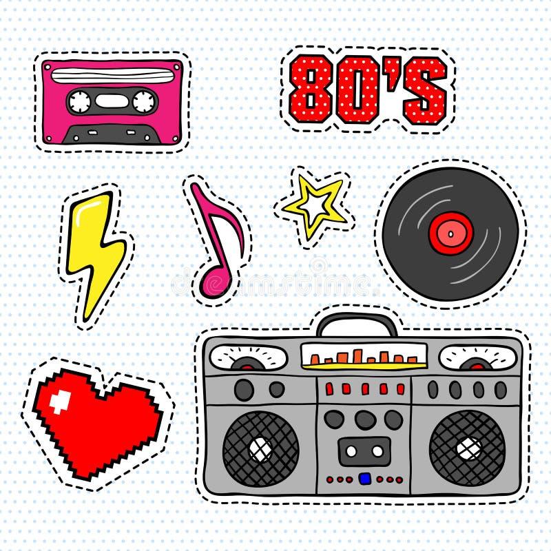 Klistermärkear för popkonst med bandspelaren, kassetten, vinylrekordet och andra beståndsdelar vektor illustrationer