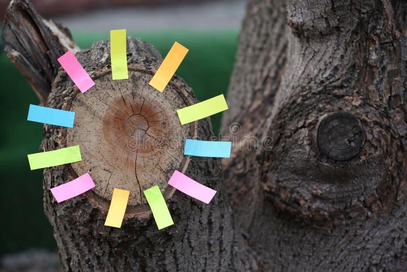 Klistermärkear för stump för skogträd pappers- inget arkivfoton
