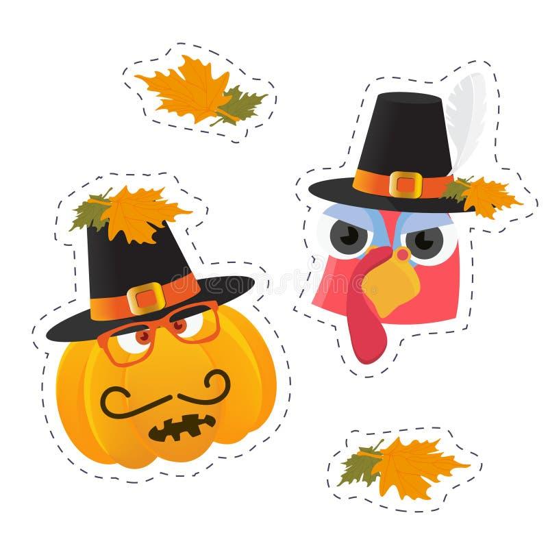 Klistermärkear för tacksägelsedag: kalkonfågeln och pumpa med vallfärdar hatten på royaltyfri illustrationer