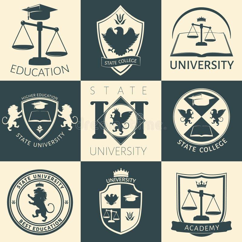 Klistermärkear för universitetheraldiktappning royaltyfri illustrationer