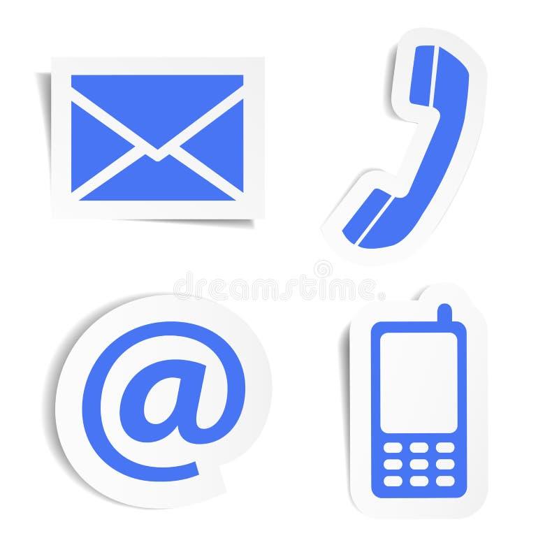 Klistermärkear för Websitekontaktsymboler stock illustrationer