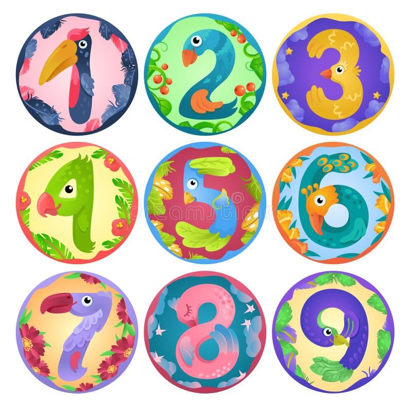 Klistermärkear från nummer som fåglar i felik stil vektor illustrationer