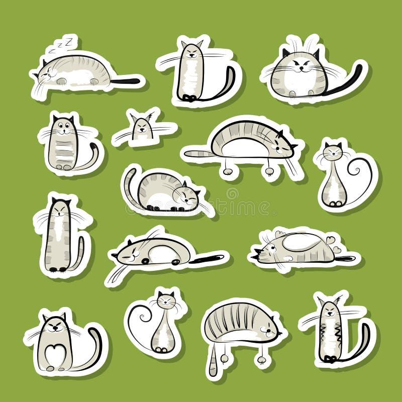 Klistermärkear med roliga katter för din design vektor illustrationer