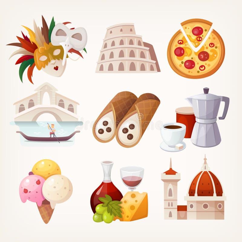 Klistermärkear med sikt och berömd mat av Italien royaltyfri illustrationer