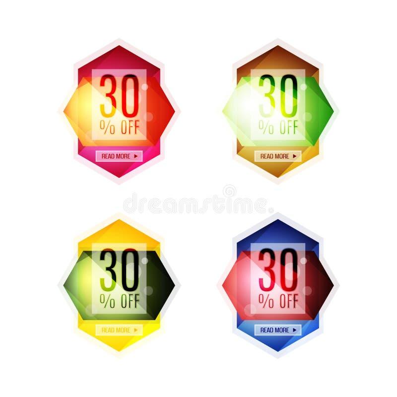Klistermärkear och baner för specialt erbjudande för vektor royaltyfri illustrationer