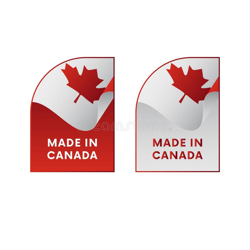 Klistermärkear som göras i Kanada också vektor för coreldrawillustration stock illustrationer