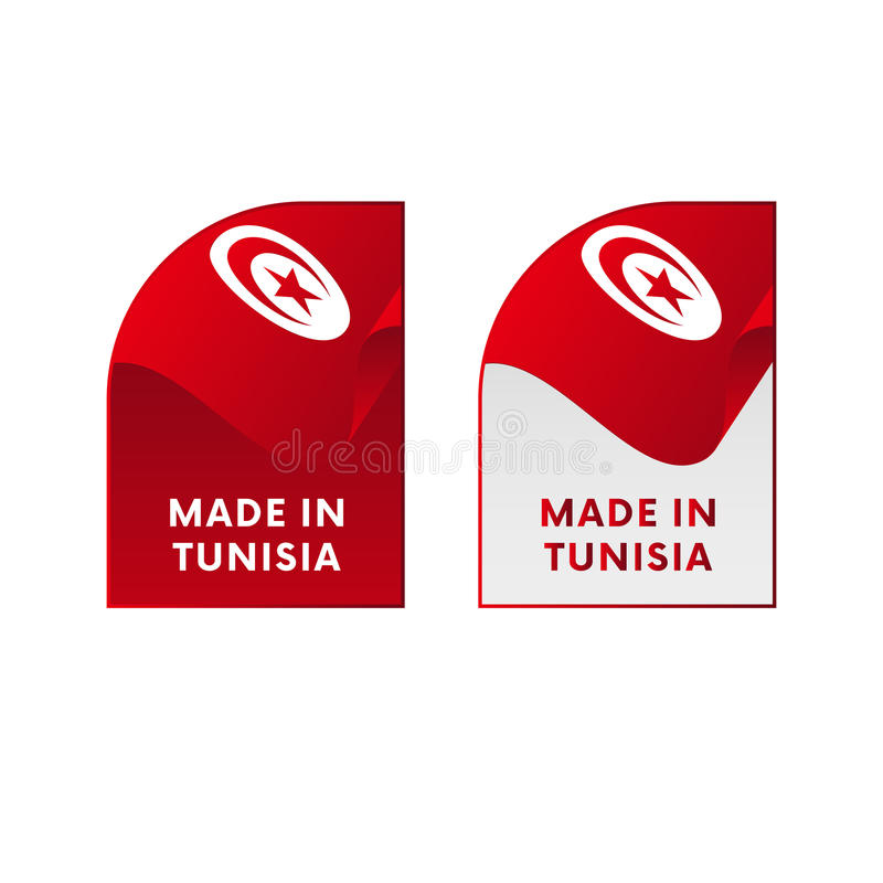 Klistermärkear som göras i Tunisien vektor vektor illustrationer