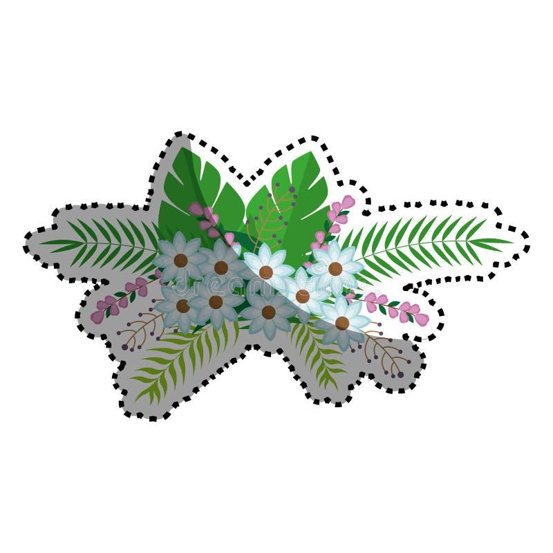 Klistermärkeblommor samlar ihop blom- design med sidor royaltyfri illustrationer
