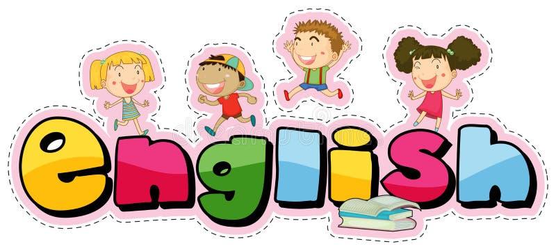 Klistermärkedesign för ordengelska med lyckliga ungar royaltyfri illustrationer