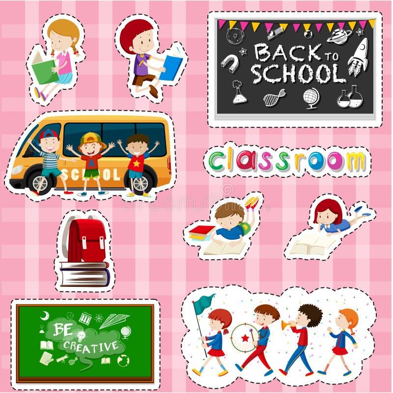 Klistermärkedesign för studenter och skolaobjekt royaltyfri illustrationer