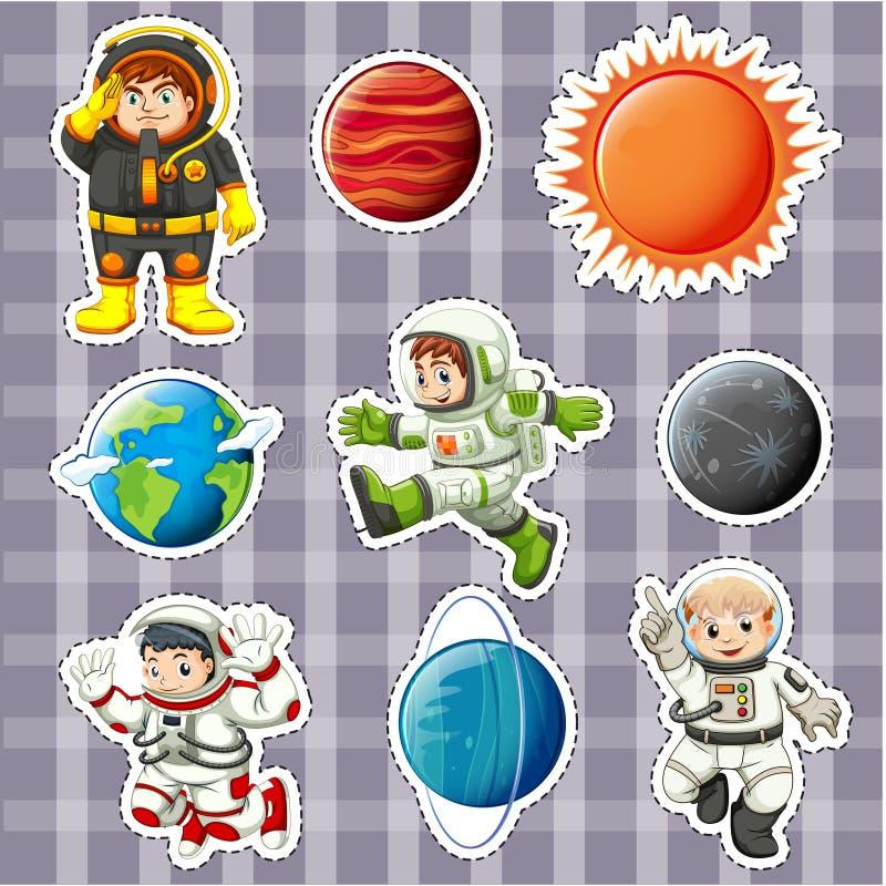 Klistermärkedesign med astronaunts och planeter vektor illustrationer