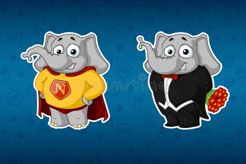 Klistermärkeelefanter En superhero i en kappa I en smoking som rymmer en bukett av blommor Stor uppsättning av klistermärkear Vek royaltyfri illustrationer