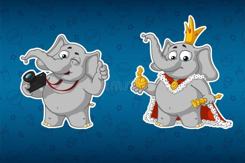Klistermärkeelefanter Fotograf med en kamera Konung i ämbetsdräkterna Stor uppsättning av klistermärkear Vektor tecknad film stock illustrationer