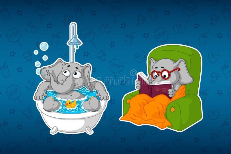 Klistermärkeelefanter I badrummet Vattentillvägagångssätt Han sitter i en stolläsning royaltyfri illustrationer