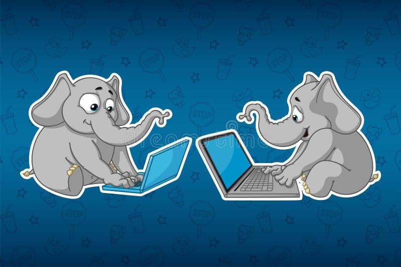 Klistermärkeelefanter Sitter på datoren Arbete på internet Kommunikation i nätverket Stor uppsättning av klistermärkear Vektor te stock illustrationer