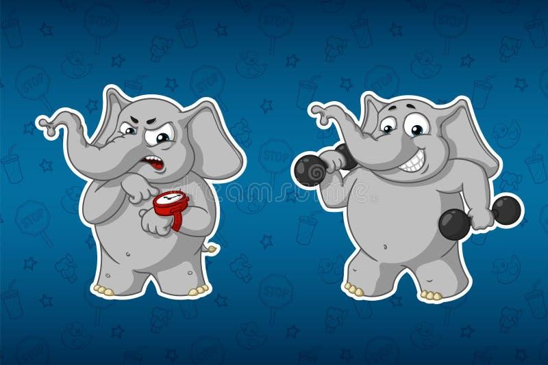 Klistermärkeelefanter Sportar hantlar i händerna, kondition utbildning instruktör blidka Stor uppsättning av klistermärkear Vekto royaltyfri illustrationer