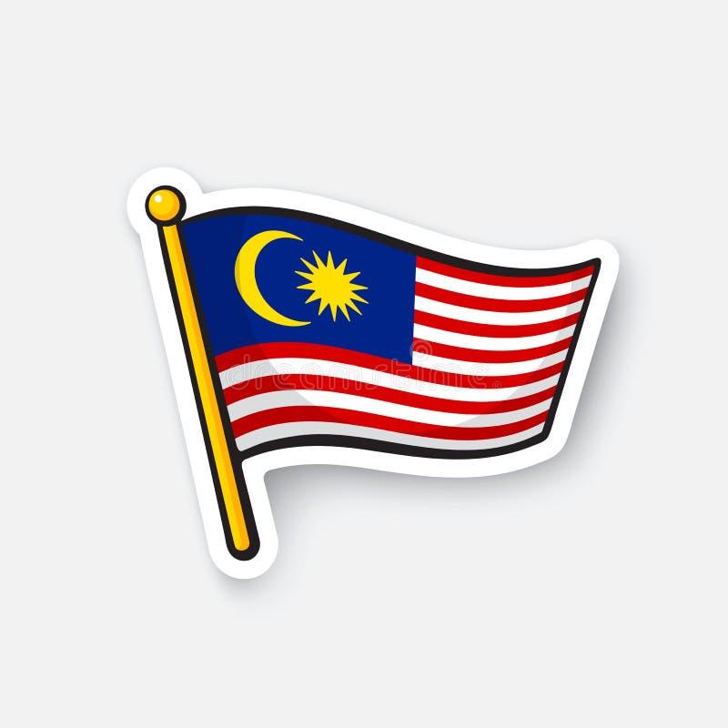 Klistermärkeflagga av Malaysia stock illustrationer