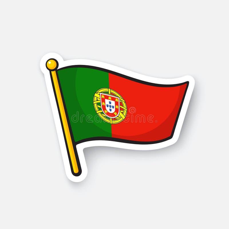 Klistermärkeflagga av Portugal på flaggstång vektor illustrationer