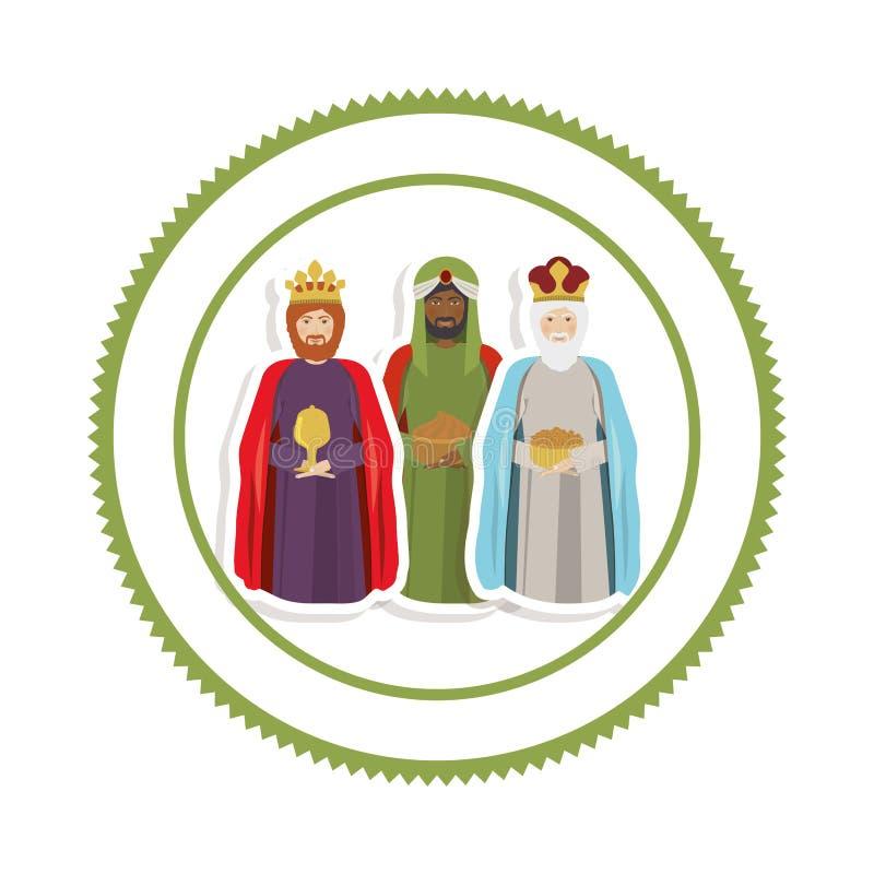 Klistermärkegräns med de tre kloka männen vektor illustrationer