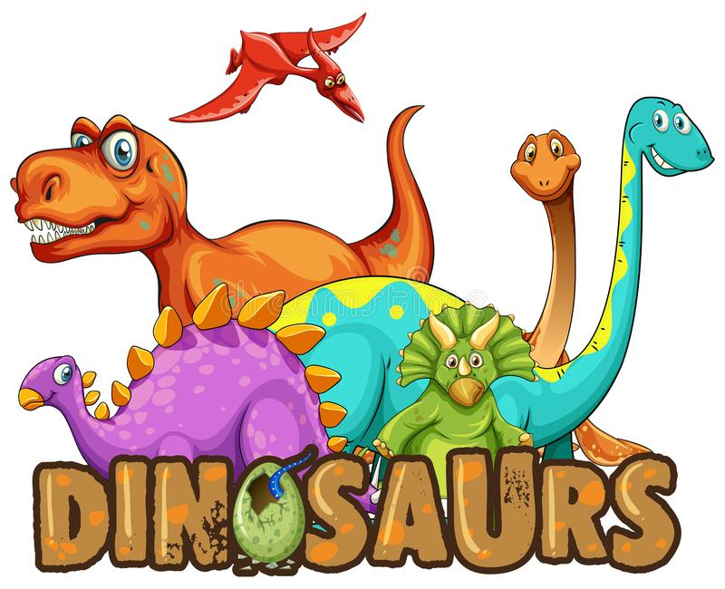 Klistermärkemall med många typer av dinosaurier royaltyfri illustrationer