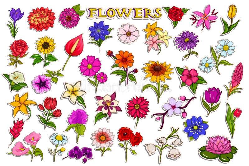 Klistermärkesamling för färgrik ny blomma vektor illustrationer