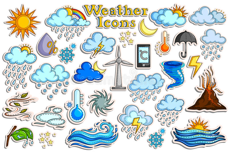 Klistermärkesamling för väderprognossymbol royaltyfri illustrationer