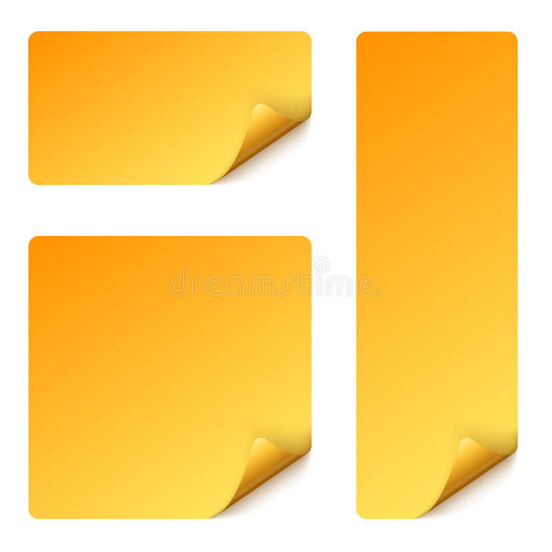 klistermärkesamling som vänds över hörn vektor illustrationer