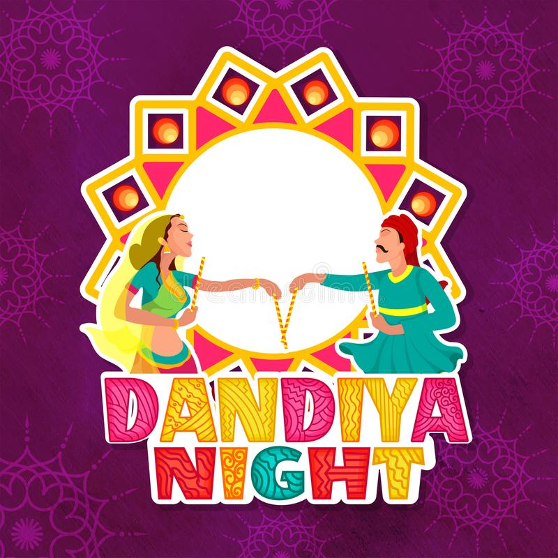 Klistermärkestil som är färgrik, klottrar den textDandiya natten, parperfo royaltyfri illustrationer