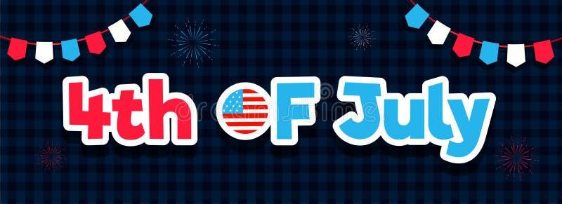 Klistermärkestiltext 4th Juli med bunting flaggor som dekoreras på svart och blå tartanmodellbakgrund royaltyfri illustrationer