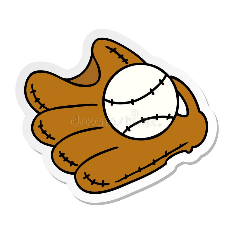 klisterm?rketecknad filmklotter av en baseball och en handske royaltyfri illustrationer