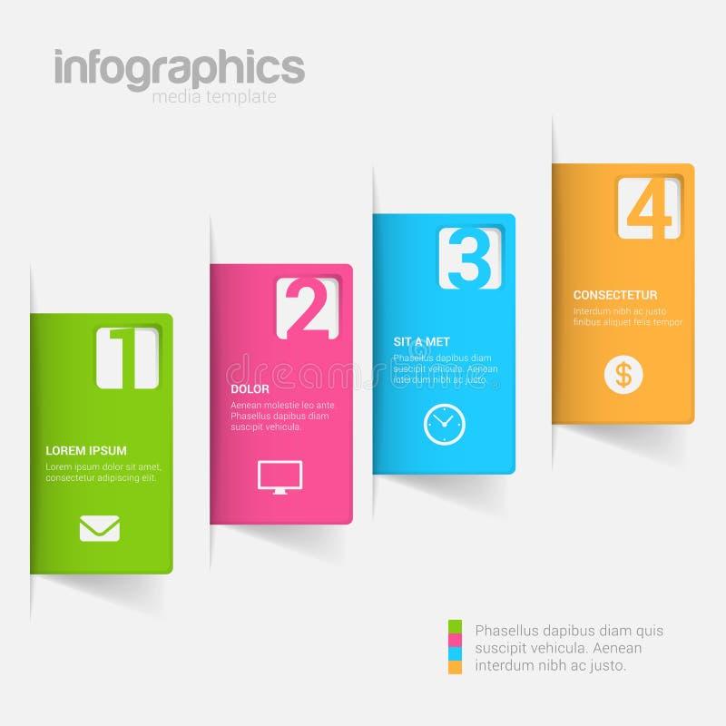 Kliva för infographicsmodellen för etiketten 3D bakgrund för vektorn för mallen royaltyfri illustrationer