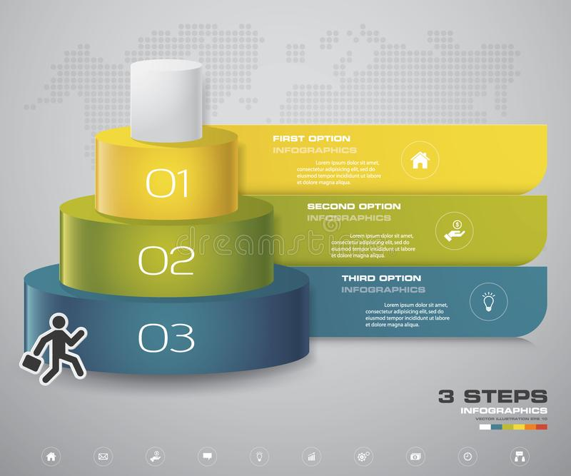 3 kliver lagerdiagrammet Enkel & redigerbar abstrakt designbeståndsdel stock illustrationer