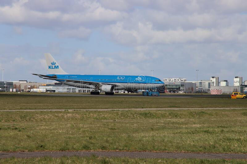 KLM aircraft are parked on runway Aalsmeerbaan due to canceled flights at Amsterdam Schiphol airport during the corona crisis in 2. 020 stock photo