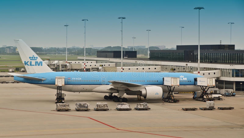 KLM airplane at Schiphol airport stock photography