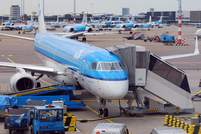 KLM at Amsterdam airport. Amsterdam airport is KLM Royal Dutch base for most of it's more than 200 aircraft. The company is member of the Sky Team alliance royalty free stock photos
