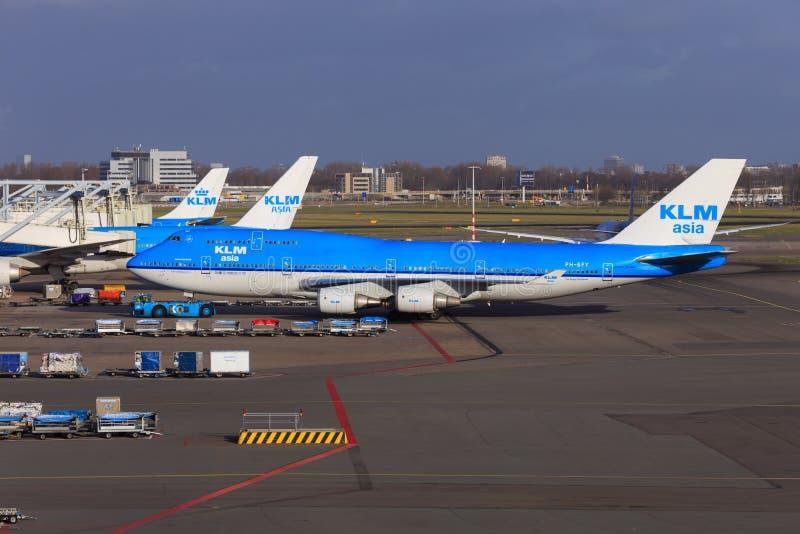 KLM Boeing 747-400 royaltyfria foton