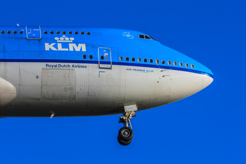 KLM Boeing 747 nose royalty free stock image