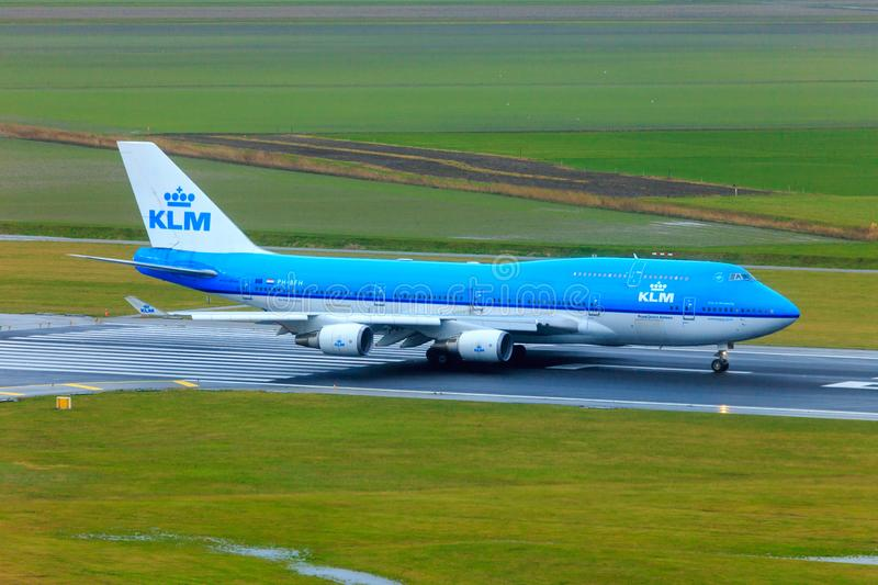 KLM Boeing 747-400. Taxiing at Schiphol Amsterdam Airport. This type will be retired soon by KLM stock photos