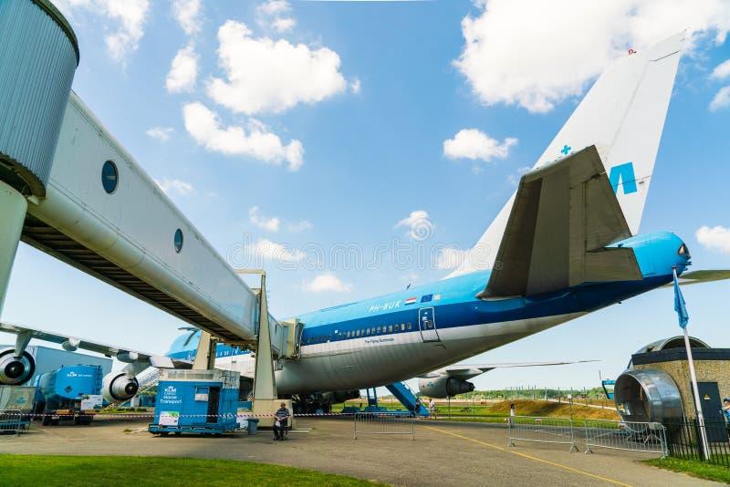 KLM Boeing 747 Vliegtuig ph-BUK dat bij het Aviodrome-Vliegtuigmuseum wordt getoond stock foto's